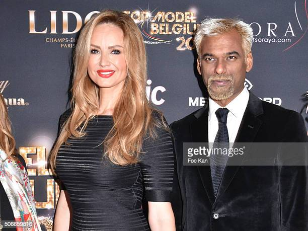 Adriana Karembeu and Satya Oblette attend the 'Top Model Belgium 2016' Ceremony at Le Lido on January 24 2016 in Paris France