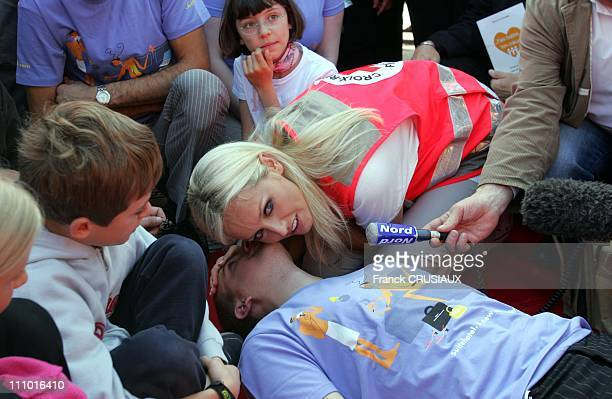 Adriana Karembeu, godmother of the French Red Cross, kick-off of the World First Aid Day 2007 in Lille, France on September 8th, 2007