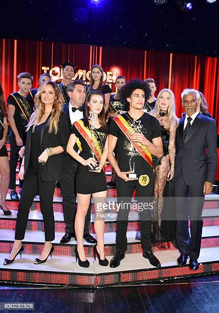 Adriana Karembeu Jeremy Urbain organizer of Top model Belgium Top Model Belgium awarded girl model Manon Louvrier Top Model Belgium awarded boy model...