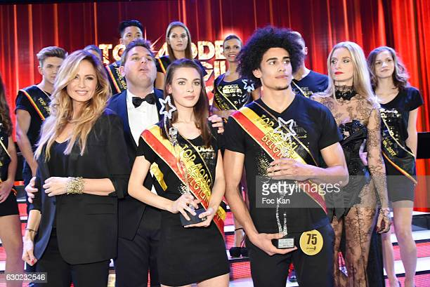 Adriana Karembeu Jeremy Urbain organizer of Top model Belgium Top Model Belgium 2017 awarded girl model Manon Louvrier Top Model Belgium 2017 awarded...