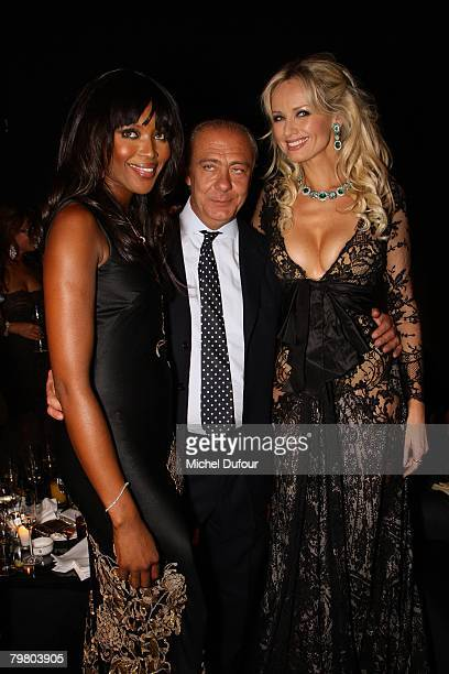 Adriana Karembeu, Naomi Campbell and Fawaz Gruosi attends a launch party for new products from De Grisogono at the Palace Hotel February 15, 2008 in...