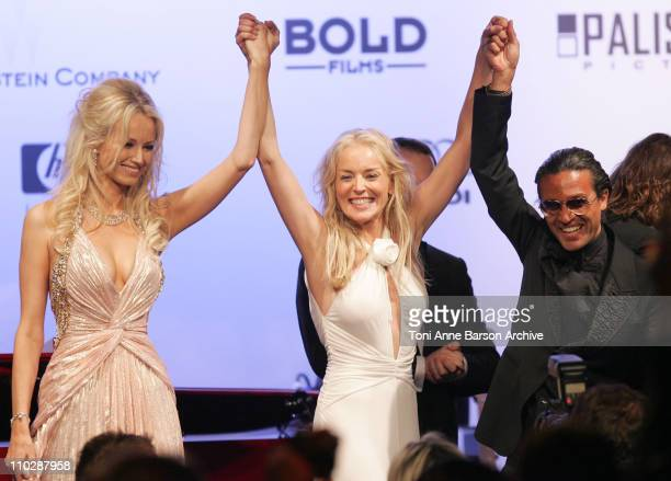 Adriana Karembeu, Sharon Stone and Omar Harfouch during amfAR's Cinema Against AIDS Benefit in Cannes, Presented by Bold Films, Palisades Pictures...