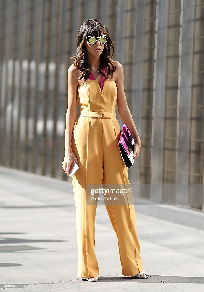 Adriana Kubieniec is seen outside the DKNY show during New York Fashion Show 2016 on September 16, 2015 in New York City.