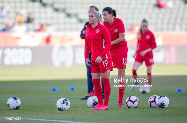 Adriana Leon and Christine Sinclair of Canada warming up during a game between Canada and Costa Rica at Dignity Health Sports Park on February 07...