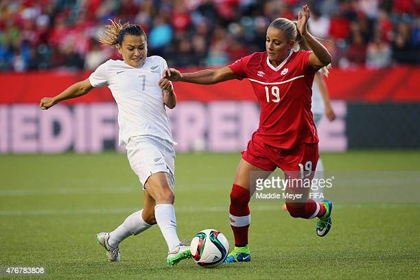 Adriana Leon of Canada and Ali Riley of New Zealand battle for the ball during the FIFA Women's World Cup Canada 2015 Group A match at Commonwealth...
