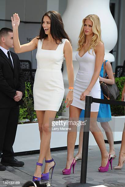 Adriana Lima and Erin Heatherton arrive Victoria's Secret Angels Very Sexy Jet Tour on February 28 2012 in Miami Beach United States