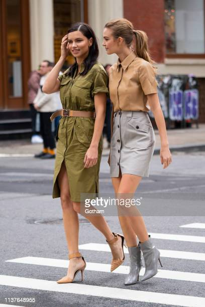 Adriana Lima and Josephine Skriver are seen during a photoshoot for Maybelline in SoHo on March 22 2019 in New York City