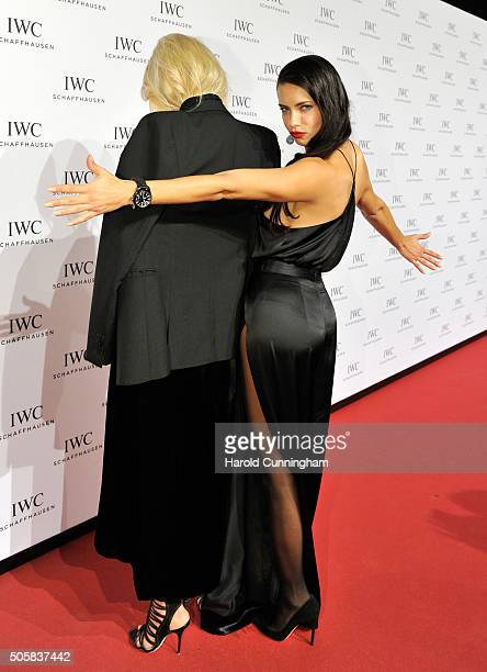 Adriana Lima and Karolina Kurkova attend the IWC 'Come Fly With Us' Gala Dinner during the launch of the Pilot's Watches Novelties from the Swiss...