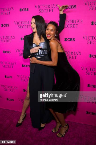 Adriana Lima and Lais Ribeiro attend the 2017 Victoria's Secret Fashion Show viewing party pink carpet at Spring Studios on November 28 2017 in New...