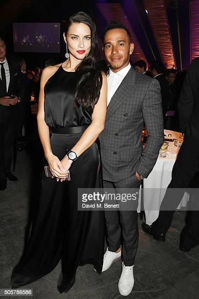 Adriana Lima and Lewis Hamilton attend the IWC 'Come Fly with us' Gala Dinner during the launch of the Pilot's Watches Novelties from the Swiss...