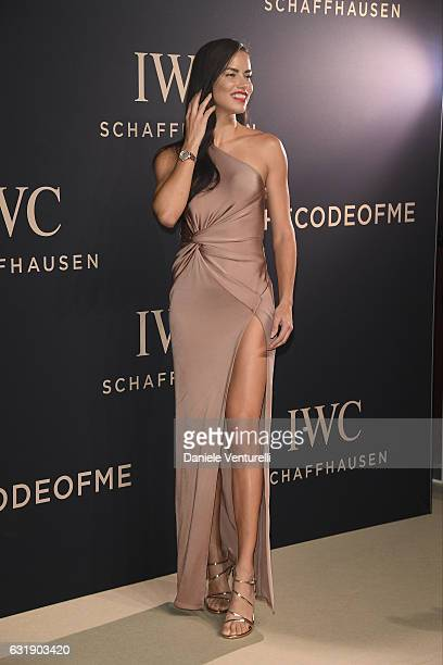 Adriana Lima arrives at IWC Schaffhausen at SIHH 2017 'Decoding the Beauty of Time' Gala Dinner on January 17 2017 in Geneva Switzerland