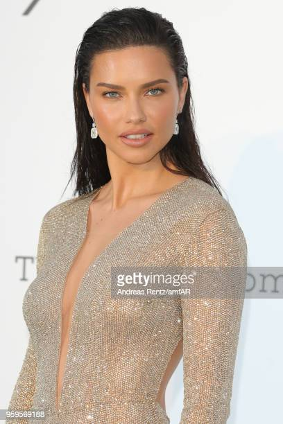 Adriana Lima arrives at the amfAR Gala Cannes 2018 at Hotel du CapEdenRoc on May 17 2018 in Cap d'Antibes France