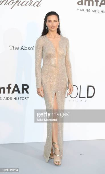 Adriana Lima arrives at the amfAR Gala Cannes 2018 at Hotel du Cap-Eden-Roc on May 17, 2018 in Cap d'Antibes, France.