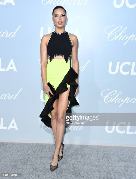 Adriana Lima arrives at the Hollywood For Science Gala at Private Residence on February 21, 2019 in Los Angeles, California.