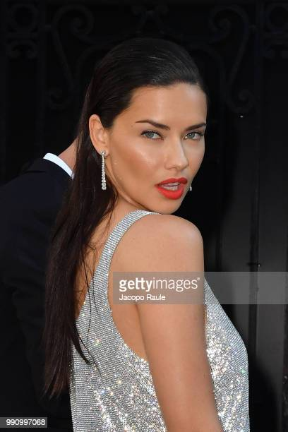 Adriana Lima arrives at the 'Vogue Foundation Dinner 2018' at Palais Galleria on July 3 2018 in Paris France