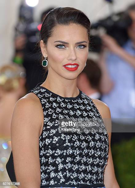 Adriana Lima arrives for the 'Manus x Machina Fashion In An Age Of Technology' Costume Institute Gala at Metropolitan Museum of Art on May 2 2016 in...