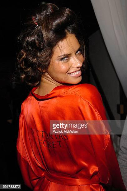 Adriana Lima attends 10th VICTORIA'S SECRET FASHION SHOW Backstage at Lexington Avenue Armory on November 9 2005 in New York City