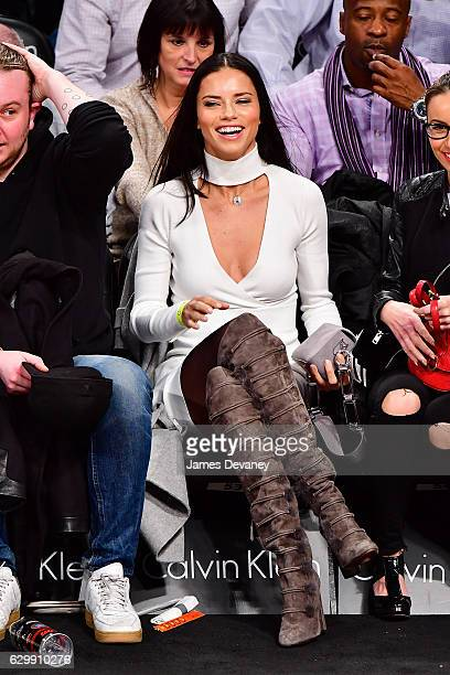 Adriana Lima attends Brooklyn Nets vs Los Angeles Lakers game at Barclays Center on December 14 2016 in New York City