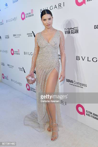 Adriana Lima attends the 26th annual Elton John AIDS Foundation Academy Awards Viewing Party sponsored by Bulgari, celebrating EJAF and the 90th...