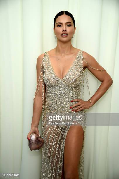 Adriana Lima attends the 26th annual Elton John AIDS Foundation Academy Awards Viewing Party sponsored by Bulgari celebrating EJAF and the 90th...
