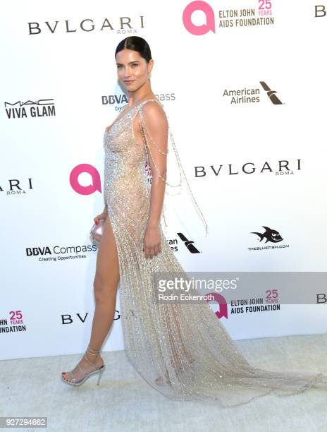 Adriana Lima attends the 26th annual Elton John AIDS Foundation's Academy Awards Viewing Party at The City of West Hollywood Park on March 4 2018 in...