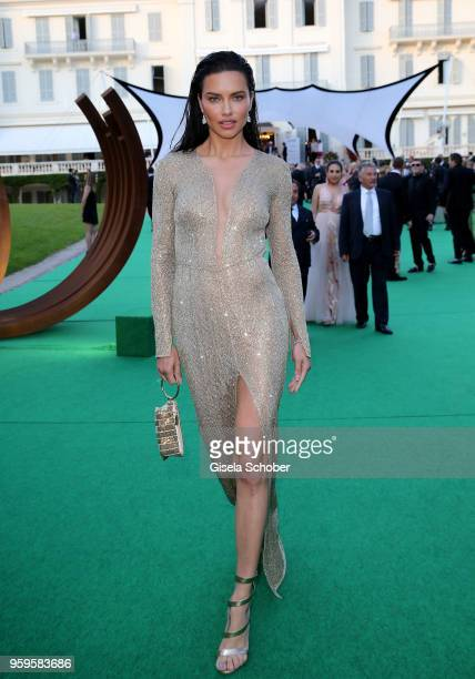 Adriana Lima attends the cocktail at the amfAR Gala Cannes 2018 at Hotel du CapEdenRoc on May 17 2018 in Cap d'Antibes France