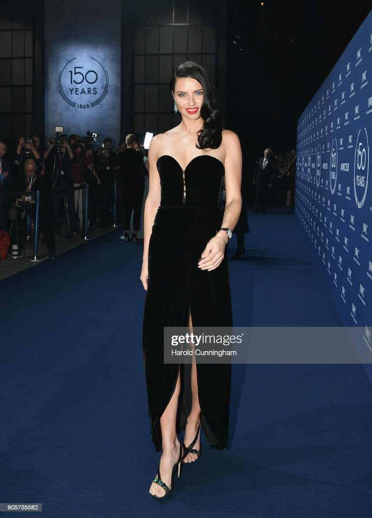 Adriana Lima attends the IWC Schaffhausen Gala celebrating the Maison's 150th anniversary and the launch of its Jubilee Collection at the Salon International de la Haute Horlogerie (SIHH) on January 16, 2018 in Geneva, Switzerland. #IWC150