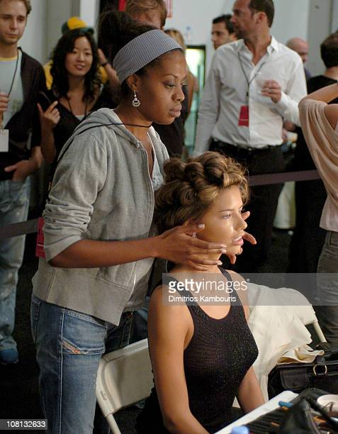 Adriana Lima backstage at Luca Luca Spring 2005 during Olympus Fashion Week Spring 2005 Luca Luca Front Row and Backstage at Theater Tent Bryant Park...