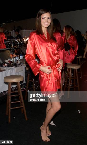 Adriana Lima backstage in hair and makeup before the Victoria's Secret Fashion Show 2001 at Bryant Park in New York City Photo Evan...
