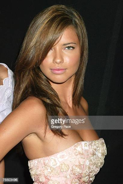 Adriana Lima backstage wearing Luca Luca from the Spring 2005 Collection at the Olympus Fashion Week Spring 2005 Luca Luca Front Row and Backstage at...