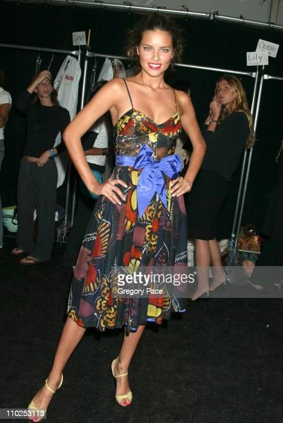 Adriana Lima during Olympus Fashion Week Spring 2006 Luca Luca Backstage at Bryant Park in New York City New York United States