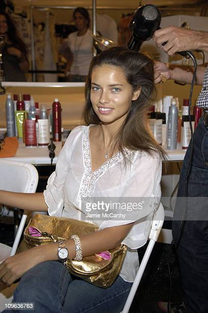 Adriana Lima during Olympus Fashion Week Spring 2006 Luca Luca Front Row and Backstage at Bryant Park in New York City New York United States