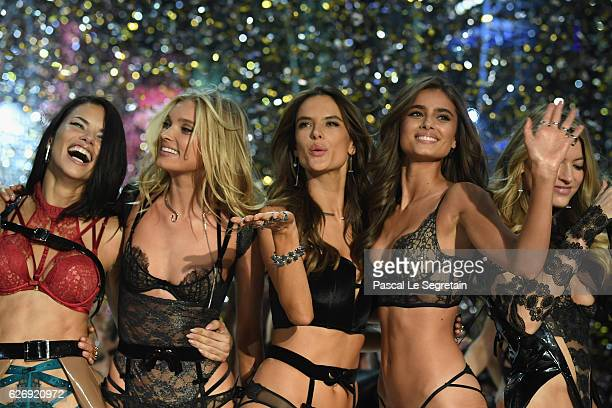 Adriana Lima, Elsa Hosk, Alessandra Ambrosio and Josephine Skriver walk the runway at the Victoria's Secret Fashion Show on November 30, 2016 in...