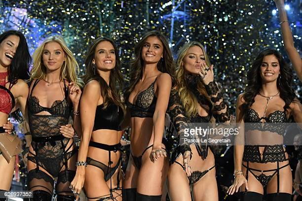 Adriana Lima, Elsa Hosk, Alessandra Ambrosio, Taylor Hill, Martha Hunt and Sara Sampaio walks the runway at the Victoria's Secret Fashion Show on...