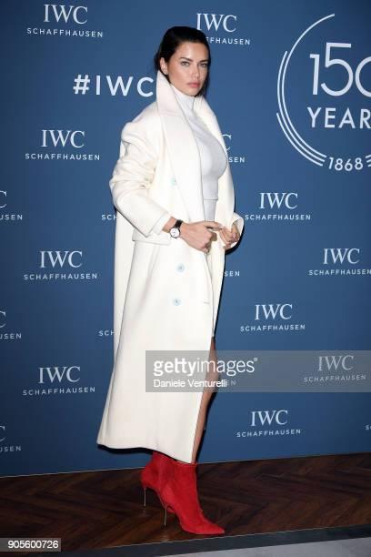 Adriana Lima is seen at IWC Schaffhausen at SIHH 2018 on January 16 2018 in Geneva Switzerland