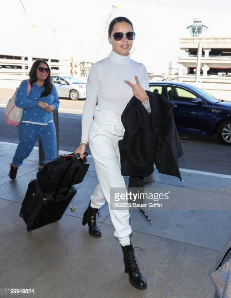 Adriana Lima is seen at LAX on February 10 2020 in Los Angeles California