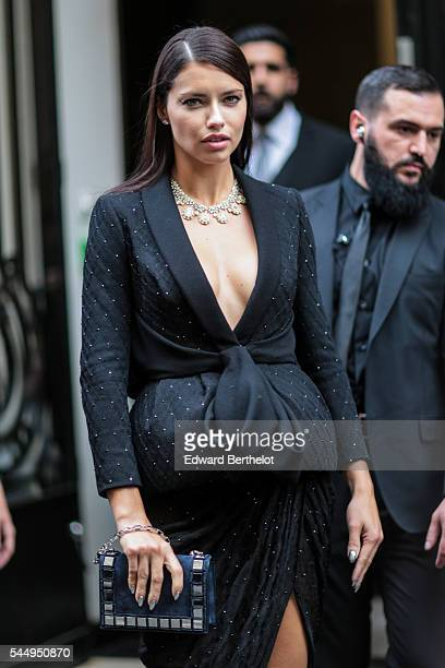 Adriana Lima is seen before the Ralph Russo show during Paris Fashion Week Haute Couture F/W 2016/2017 on July 4 2016 in Paris France