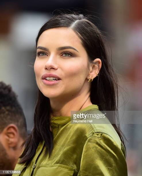 Adriana Lima is seen during a photoshoot for Maybelline in SoHo on March 22 2019 in New York City