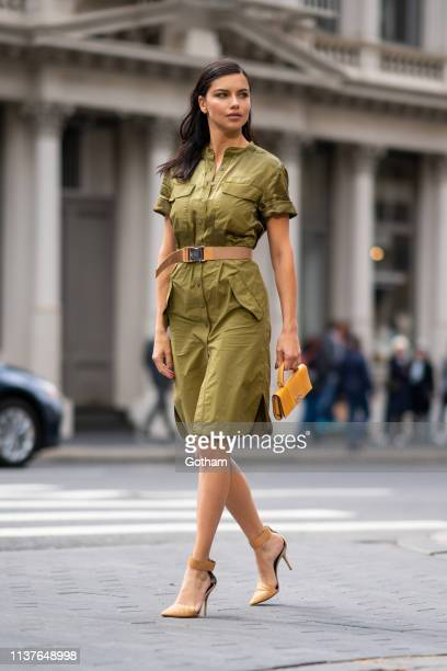 Adriana Lima is seen during a photoshoot for Maybelline in SoHo on March 22, 2019 in New York City.