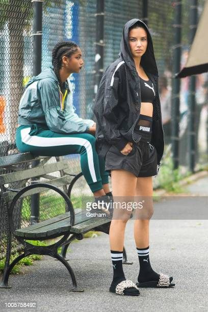 Adriana Lima is seen during a photoshoot for Puma in SoHo on July 26 2018 in New York City