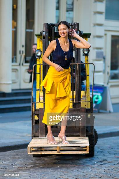 Adriana Lima is seen during a photoshoot in SoHo on April 20 2018 in New York City