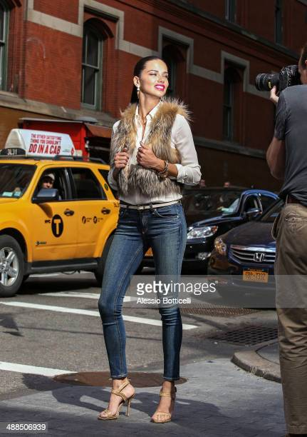 Adriana Lima is seen during Maybelline photoshoot in SoHo on May 6 2014 in New York City
