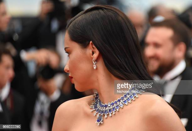 Adriana Lima jewelry detail attends the screening of 'Burning' during the 71st annual Cannes Film Festival at Palais des Festivals on May 16 2018 in...