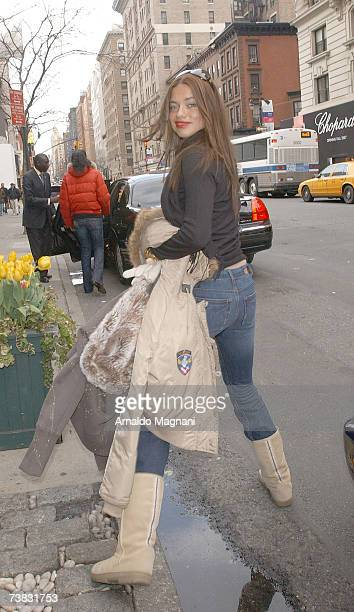 Adriana Lima leaves a midtown restaurant on April 6 2007 in New York City