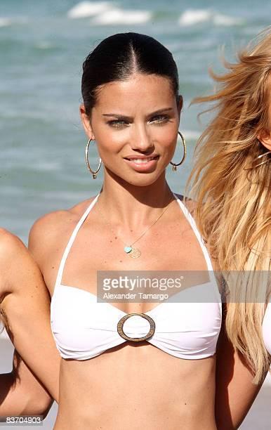 Adriana Lima poses at Fontainebleau Miami Beach Boardwalk on November 14 2008 in Miami Beach Florida