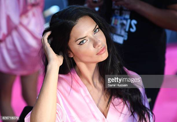 Adriana Lima poses backstage at the annual Victoria's Secret fashion show at Grand Palais on November 30 2016 in Paris France