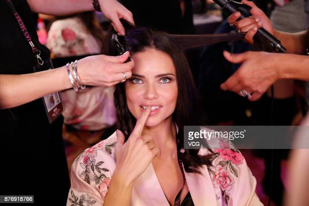 Adriana Lima poses backstage before the 2017 Victoria's Secret Fashion Show at MercedesBenz Arena on November 20 2017 in Shanghai China