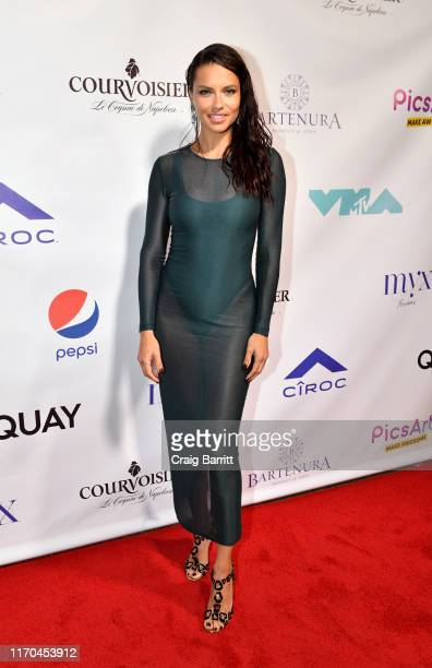 Adriana Lima poses on the red carpet during Missy Elliott's MTV Video Music Awards after party on Monday, August 26, 2019 in New York City. Guests...