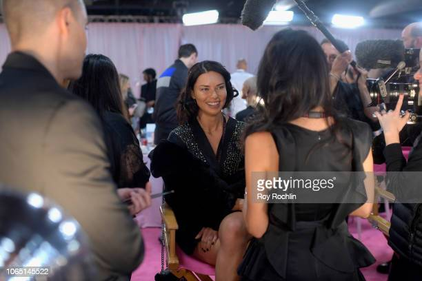 Adriana Lima prepares backstage during 2018 Victoria's Secret Fashion Show in New York at Pier 94 on November 08 2018 in New York City