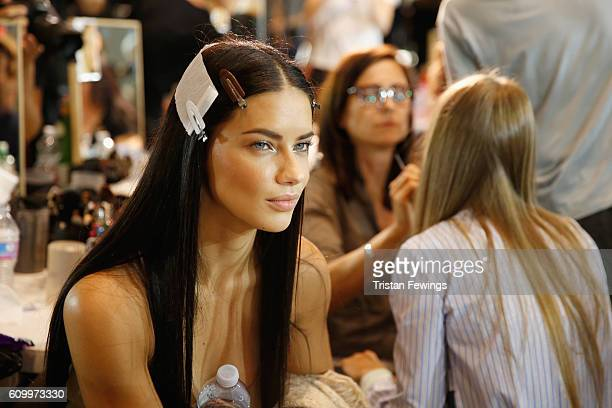 Adriana Lima seen backstage ahead of the Versace show during Milan Fashion Week Spring/Summer 2017 on September 23 2016 in Milan Italy